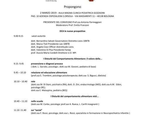 Conferenza organizzata dai Lions sui Disturbi del Comportamento Alimentare